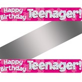 Happy Birthday Teenager Holographic Foil Banner