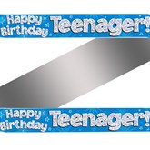 Blue Happy Birthday Teenager Holographic Foil Banner