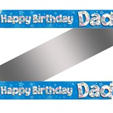 Happy Birthday Dad Holographic Foil Banner