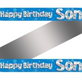 Happy Birthday Son Holographic Foil Banner