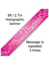 Happy Birthday Princess 9ft Foil Holo Banner