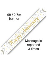 Happy Anniversary Hearts Foil Banner 9ft