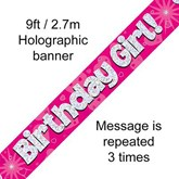 Birthday Girl Pink Holographic Foil Banner 9ft
