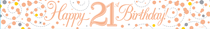 Sparkling Fizz Rose Gold & White 21st Birthday Banner