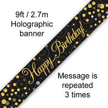 Sparkling Fizz Black & Gold Happy Birthday Banner