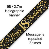 Sparkling Fizz Black & Gold 18th Birthday Banner