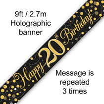 Sparkling Fizz Black & Gold 20th Birthday Banner