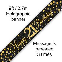 Sparkling Fizz Black & Gold 21st Birthday Banner