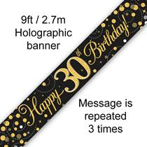 Sparkling Fizz Black & Gold 30th Birthday Banner