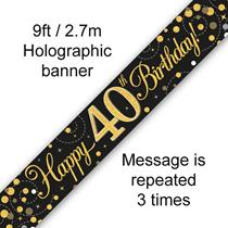 Sparkling Fizz Black & Gold 40th Birthday Banner