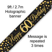 Sparkling Fizz Black & Gold 60th Birthday Banner