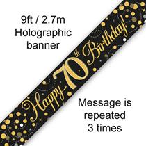 Sparkling Fizz Black & Gold 70th Birthday Banner