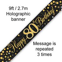 Sparkling Fizz Black & Gold 80th Birthday Banner
