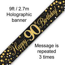 Sparkling Fizz Black & Gold 90th Birthday Banner