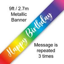 Rainbow Ombre 9ft Happy Birthday Banner