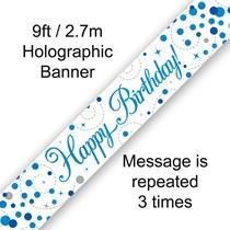 Blue Sparkling Fizz Happy Birthday Holographic Banner