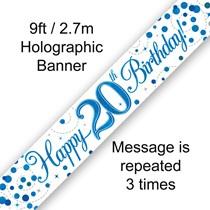 Blue Sparkling Fizz 20th Birthday Banner