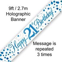 Blue Sparkling Fizz 21st Birthday Banner