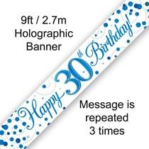 Blue Sparkling Fizz 30th Birthday Banner