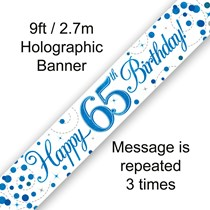 Blue Sparkling Fizz 65th Birthday Banner
