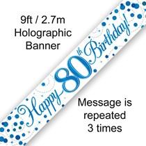 Blue Sparkling Fizz 80th Birthday Banner