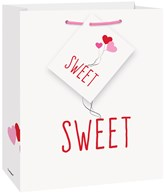 Sweet Pink & Red Hearts Small Glossy Gift Bag