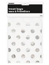 Foil Silver Polka Dot Paper Treat Bags 8pk