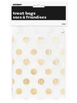 Foil Gold Polka Dot Paper Treat Bags 8pk