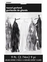 Metallic Silver, Black & White Tassel Garland 9ft