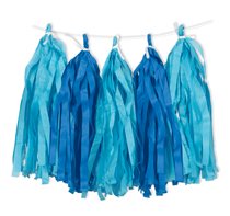 Royal and Light Blue Paper Tassel Garland 9ft