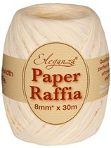 Ivory Paper Raffia Balloon Ribbon 30m