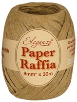 Tan Paper Raffia Balloon Ribbon 30m
