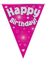 Pink Happy Birthday Holographic Flag Banner