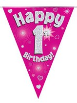 Pink Happy 1st Birthday Holographic Flag Banner