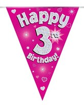 Pink Happy 3rd Birthday Holographic Flag Banner