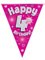 Pink Happy 4th Birthday Holographic Flag Banner