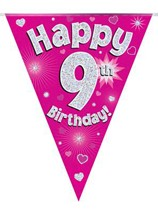 Pink Happy 9th Birthday Holographic Flag Banner