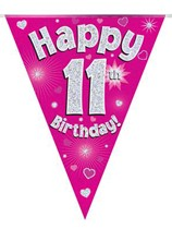 Pink Happy 11th Birthday Holographic Flag Banner