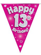 Pink Happy 13th Birthday Holographic Flag Banner