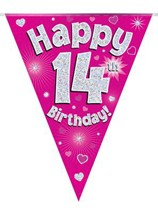 Pink Happy 14th Birthday Holographic Flag Banner