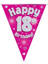 Pink Happy 18th Birthday Holographic Flag Banner