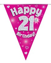 Pink Happy 21st Birthday Holographic Flag Banner