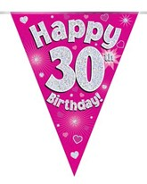 Pink Happy 30th Birthday Holographic Flag Banner