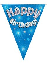 Blue Happy Birthday Holographic Flag Banner