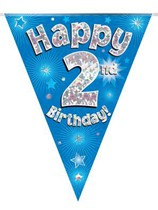 Blue Happy 2nd Birthday Holographic Flag Banner