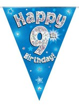 Blue Happy 9th Birthday Holographic Flag Banner