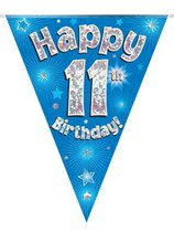Blue Happy 11th Birthday Holographic Flag Banner