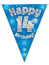 Blue Happy 14th Birthday Holographic Flag Banner
