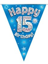 Blue Happy 15th Birthday Holographic Flag Banner