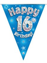 Blue Happy 16th Birthday Holographic Flag Banner